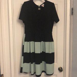 Lularoe Amelia Dress 3XL Black & mint